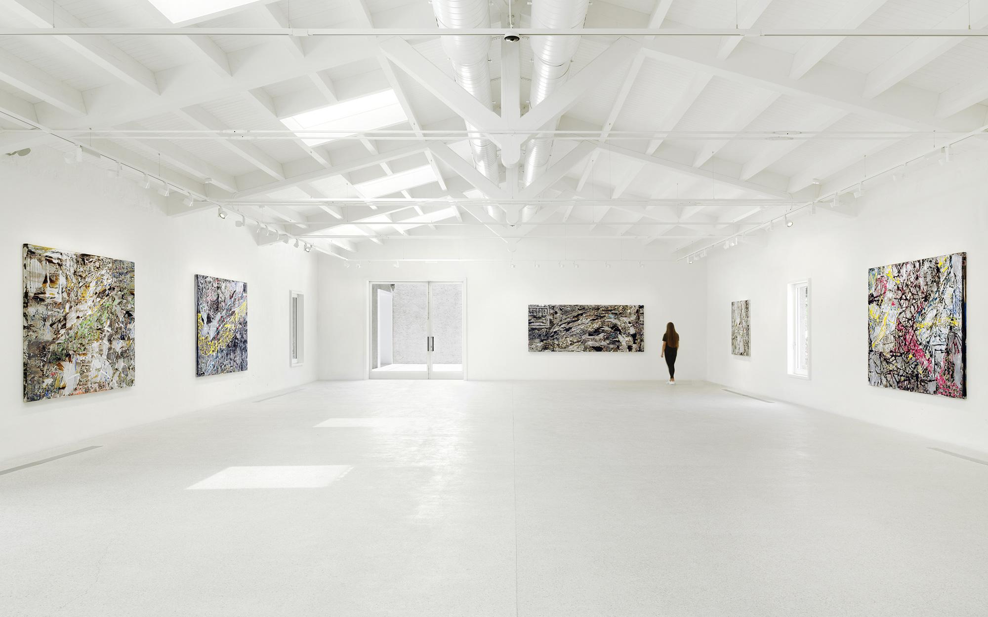 Installation view, 'Mark Bradford. Masses and Movements' at Hauser & Wirth Menorca, until 31 October 2021 © Mark Bradford Courtesy the artist and Hauser & Wirth © Stefan Altenburger